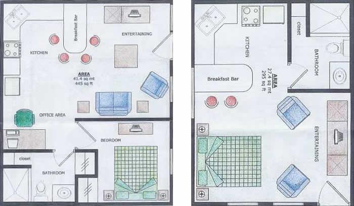 Disposizione degli appartamenti con una camera e suite della Island Condos Bocas
